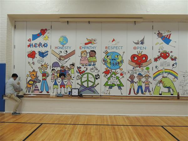 Click the title to access pictures of the students and mural