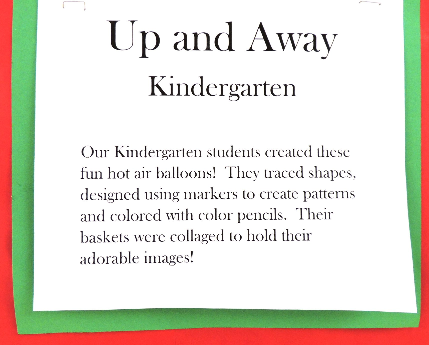 Kindergarten Hot Air Balloons